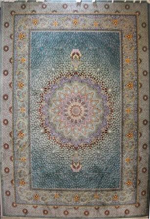 فرش 1000 شانه دیبا طرح فلورنس آبی