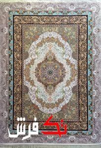فرش گل برجسته دیبا 1000 شانه طرح الیزه زمینه کرم