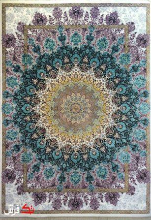فرش گل برجسته دیبا 1000 شانه طرح لوتوس زمینه کرم