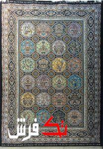 فرش گل برجسته دیبا 1000 شانه طرح پاشا زمینه فندقی