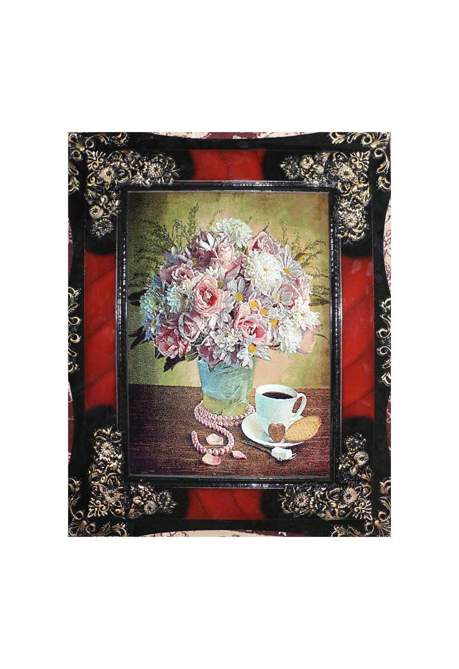 تابلو فرش منظره طرح گل و گلدان 5
