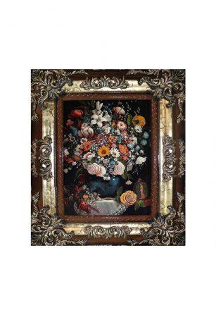 تابلو فرش منظره طرح گل و گلدان 2
