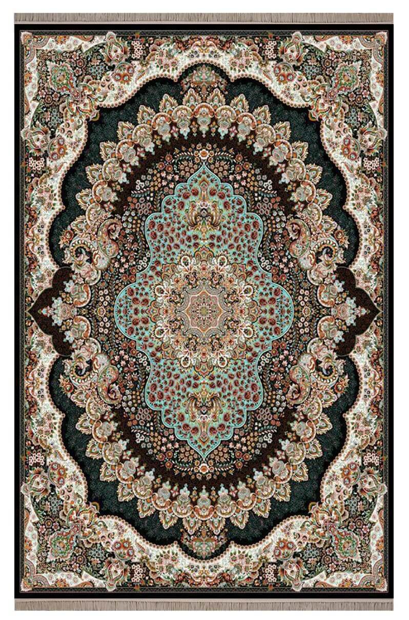 فرش ماشینی طرح ارکیده سرمه ای