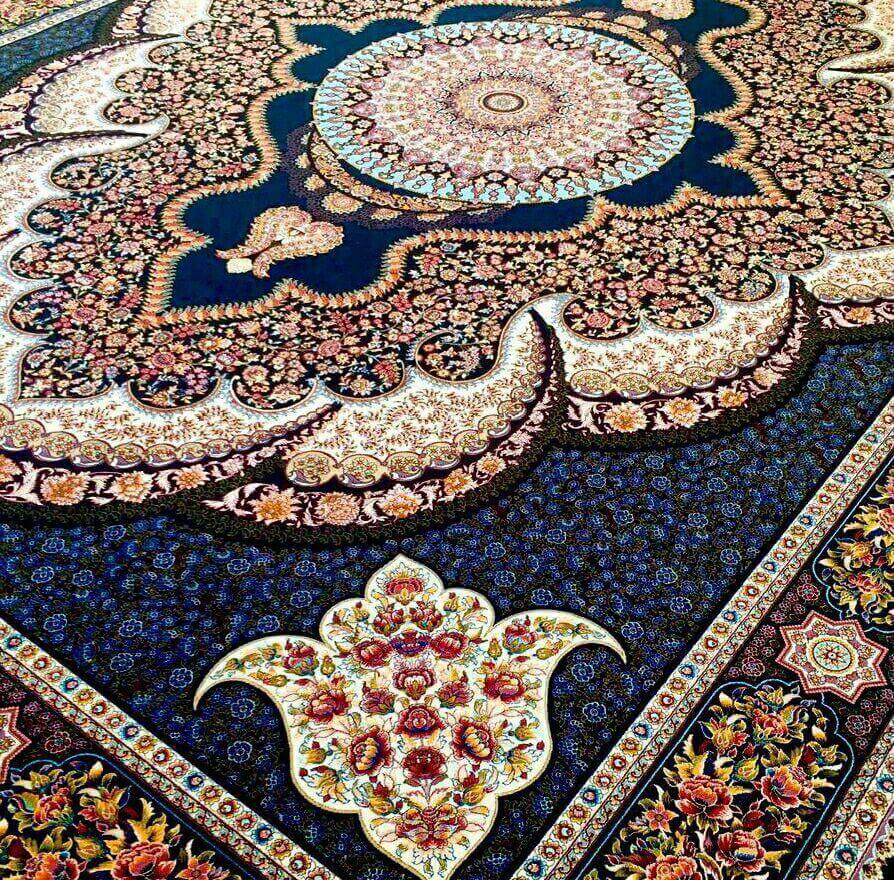 فرش 700 شانه طرح ارشیدا سرمه ای