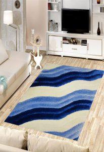 فرش فانتزی شگی کد 5019 آبی,سفید