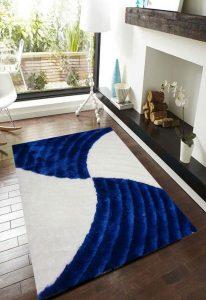 فرش فانتزی شگی کد 5008 : ( کاربنی , سفید )