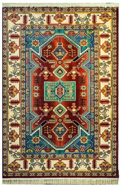 فرش عشایری طرح صدف لاکی