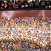 فرش 700 شانه طرح گلشن زمینه سرمه ای