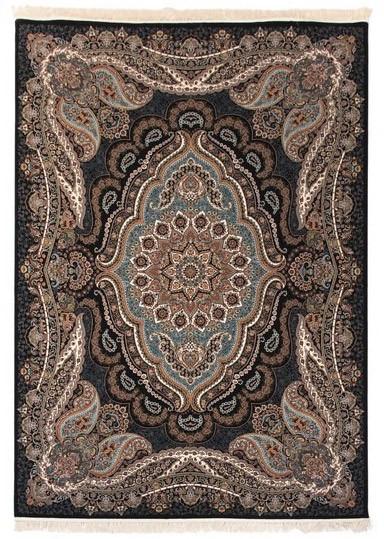 فرش 700 شانه طرح روژان زمینه سرمه ای