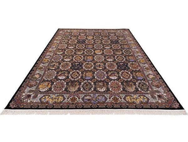 فرش 1000 شانه خشتی زمینه قهوه ای