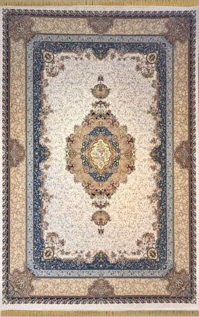 فرش مشهد اردهال کد 101 کرم 1200 شانه تراکم 3600 گل برجسته