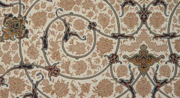 فرش مشهد اردهال کد 103 کرم 1200 شانه تراکم 3600 گل برجسته