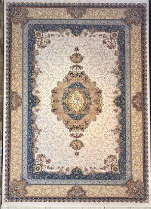 فرش 1200 شانه پنجاه رنگ مشهد اردهال کد 101 گل برجسته (هایبالک) کرم