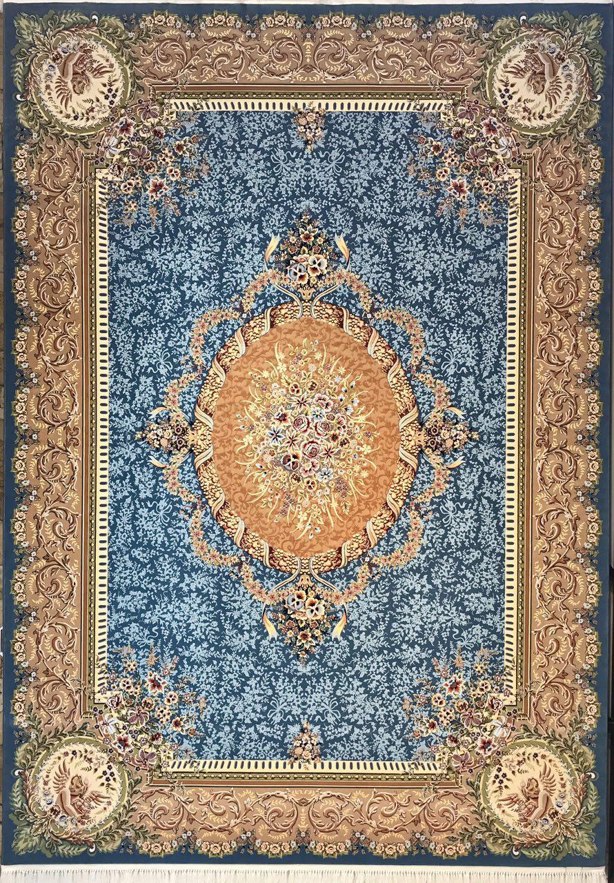 فرش 1200 شانه پنجاه رنگ مشهد اردهال کد 100 گل برجسته (هایبالک) اطلسی