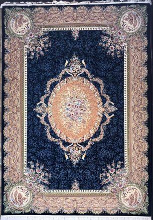 فرش 1200 شانه پنجاه رنگ مشهد اردهال کد 100 گل برجسته (هایبالک) پرکلاغی