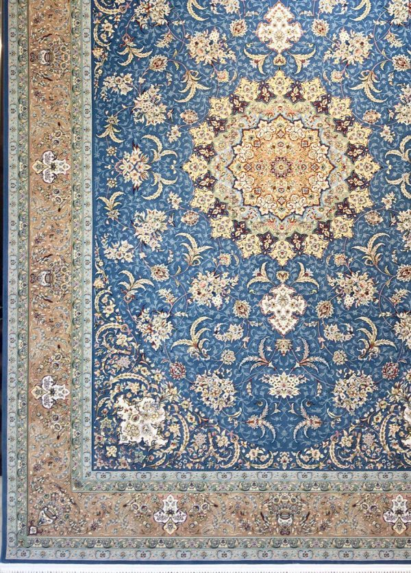 فرش 1200 شانه پنجاه رنگ مشهد اردهال کد 114 گل برجسته (هایبالک) اطلسی