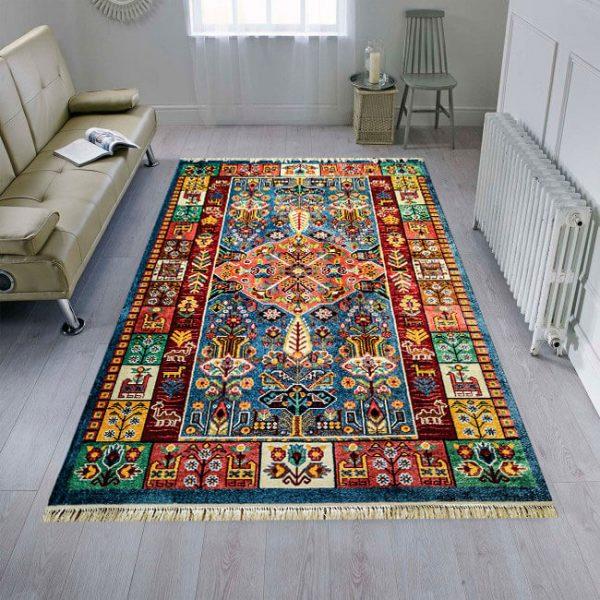 فرش عشایری طرح قشقایی آبی