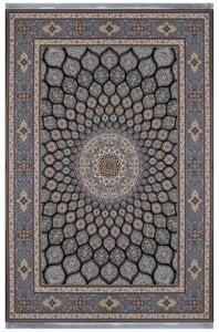 فرش شاهکار صفویه طرح گنبد سرمه ای 1200 شانه تراکم 3600 برجسته