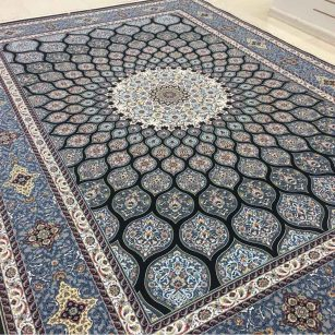 فرش 1200 شانه شبستان گل برجسته (هایبالک) سرمه ای