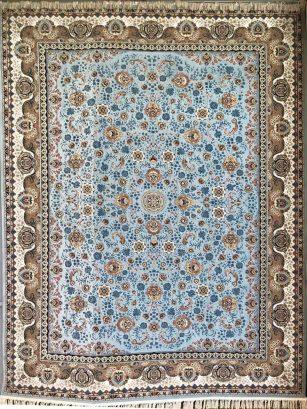 فرش 1200 شانه افشان گل برجسته (هایبالک) فیروزه ای