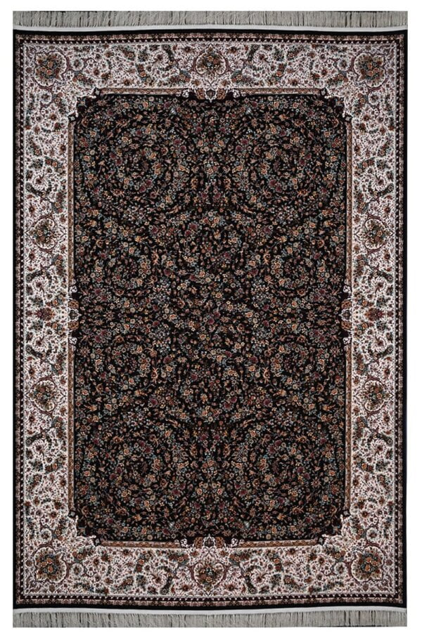 فرش محتشم 1200 شانه طرح گل فرنگ سرمه ای