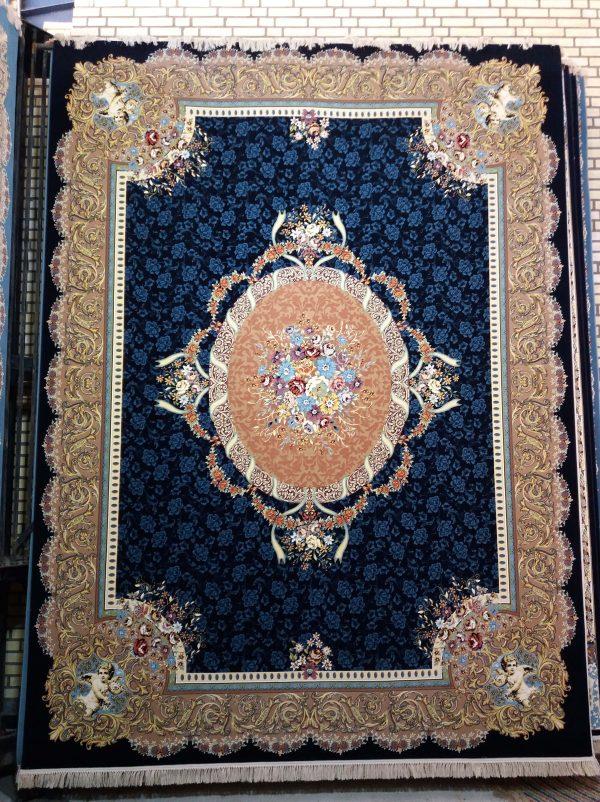 فرش 1200 شانه ستایش گل برجسته (هایبالک) سرمه ای