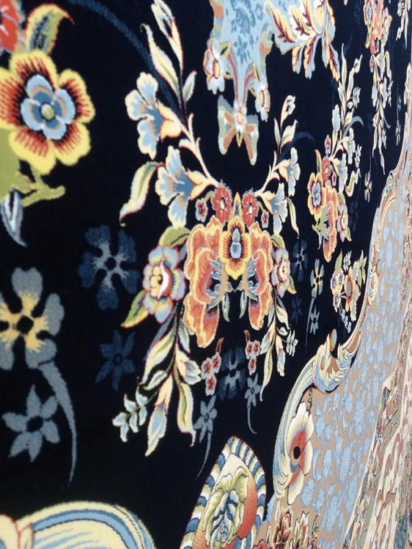 فرش 1200 شانه الیزا گل برجسته (هایبالک) کاربنی