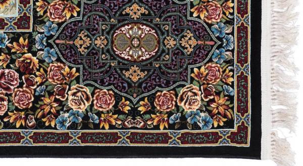 فرش 1000 شانه طرح باغ ارم زمینه مشکی