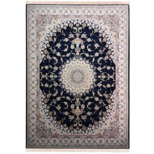 فرش 1200 شانه نازنین گل برجسته (هایبالک) سرمه ای