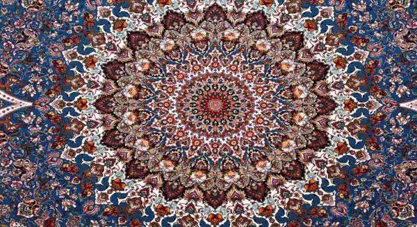فرش محتشم 1200 شانه طرح شاهانه آبی