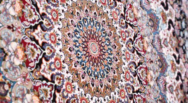 فرش محتشم 1200 شانه طرح شاهانه سرمه ای