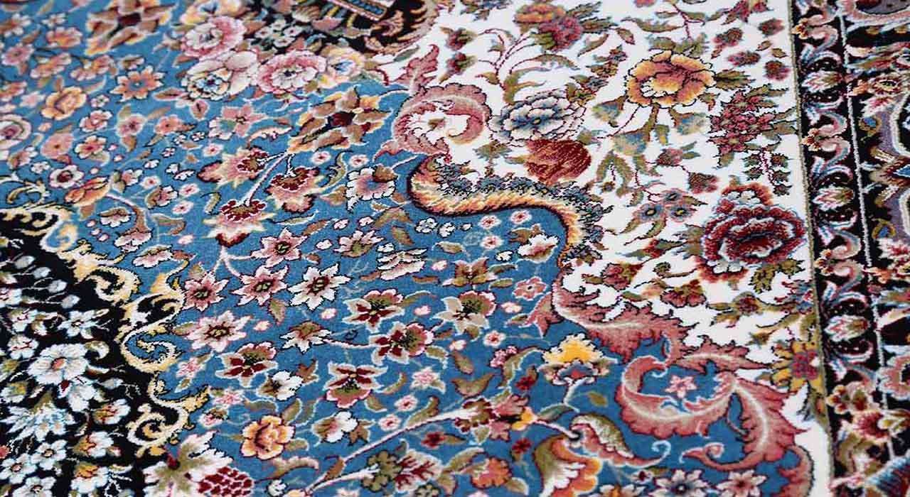 فرش محتشم 1200 شانه طرح باغ بهشت سرمه ای