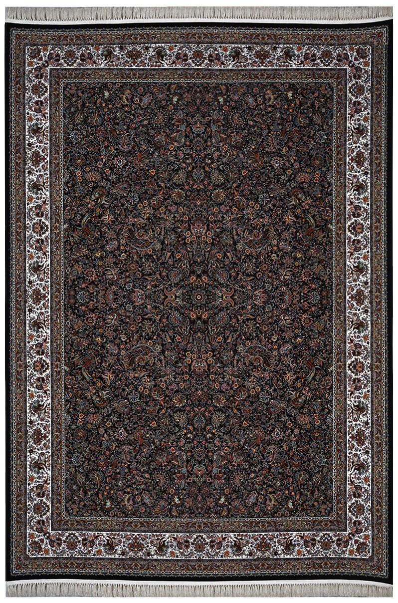 فرش محتشم 1200 شانه طرح گل و مرغ سرمه ای