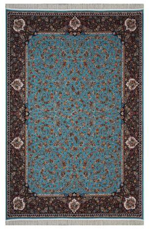 فرش محتشم 1200 شانه طرح گل فرنگ آبی