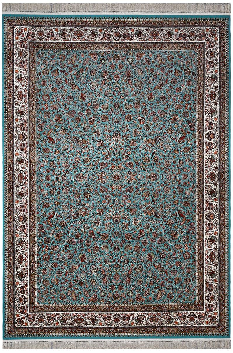 فرش ماشینی طرح گل و مرغ آبی 1200 شانه تراکم 3600