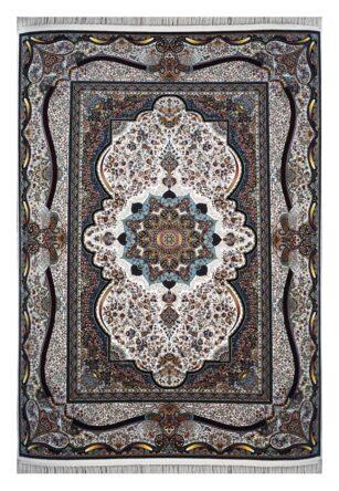 فرش ماشینی 1000 شانه محتشم طرح آترینا زمینه کرم