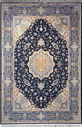 فرش مشهد اردهال کد 110 پرکلاغی 1200 شانه تراکم 3600 گل برجسته