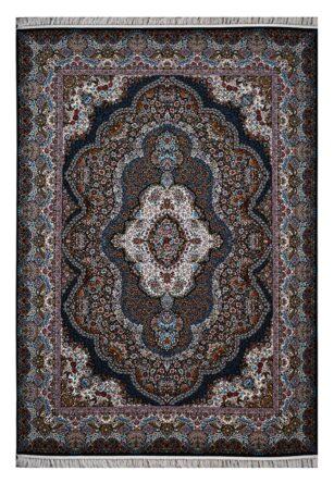 فرش ماشینی 1000 شانه محتشم طرح پاریز زمینه سرمه ای