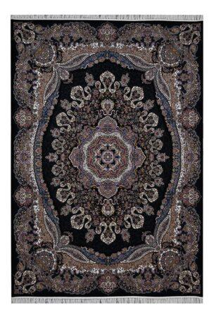 فرش ماشینی 1000 شانه محتشم طرح ارغوان زمینه سرمه ای