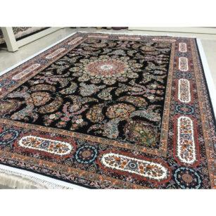 فرش ماشینی شاهکار صفویه طرح قره باغی زمینه مشکی