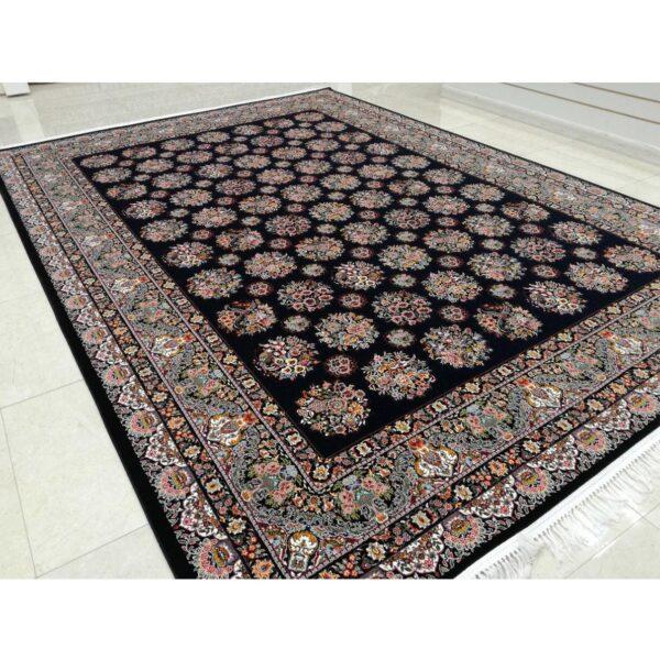 فرش ماشینی شاهکار صفویه طرح افشان زمینه مشکی