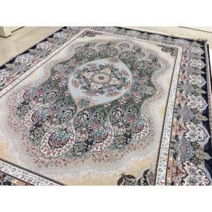 فرش شاهکار صفویه طرح باران گل برجسته (هایبالک) زمینه فیلی