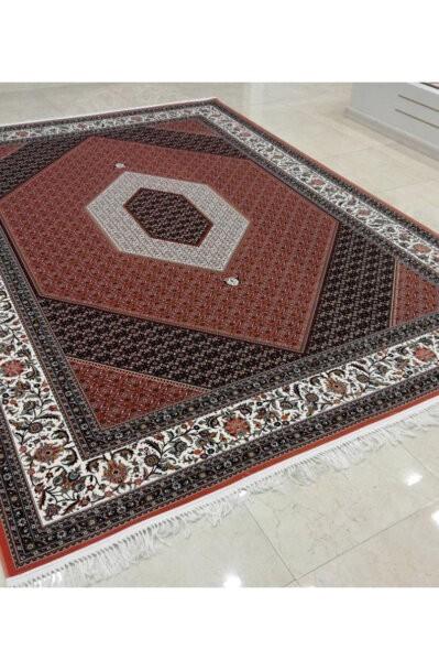 فرش ماشینی شاهکار صفویه طرح بیجار زمینه لاکی