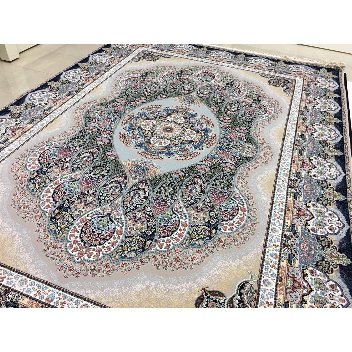 فرش شاهکار صفویه طرح باران فیلی 1200 شانه تراکم 3600 برجسته
