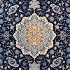 فرش 1200 شانه پنجاه رنگ مشهد اردهال کد 110 گل برجسته (هایبالک) پرکلاغی