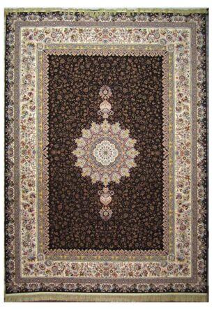 فرش محتشم 1200 شانه طرح ارگ قهوه ای تیره
