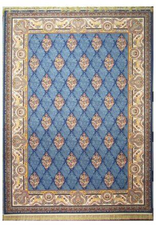 فرش محتشم 1200 شانه طرح هرمزآبی کاربنی