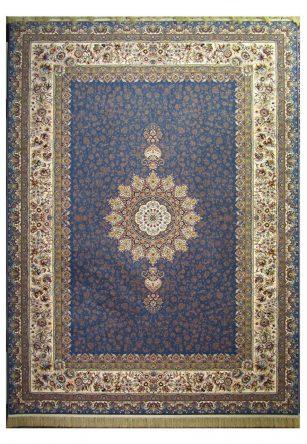 فرش محتشم 1200 شانه طرح ارگ آبی کاربنی