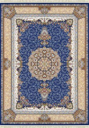 فرش 1200 شانه مهر و ماه کد 1262 گل برجسته (هایبالک) آبی درباری