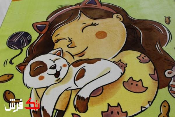 فرش کلاریس کلکسیون عروسکی طرح دختر و گربه